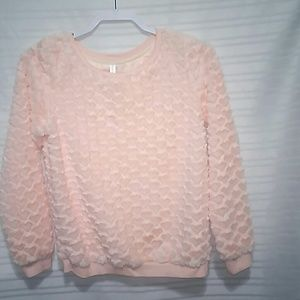 Xhilaration Peachy plush Heart sweatshirt XL 14-16